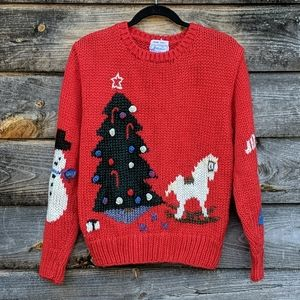 Vintage Windcrest Christmas Sweater HandKnit Red